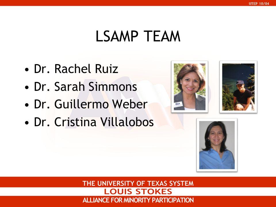 UTEP 10/04 LSAMP TEAM Dr. Rachel Ruiz Dr. Sarah Simmons Dr. Guillermo Weber Dr. Cristina Villalobos