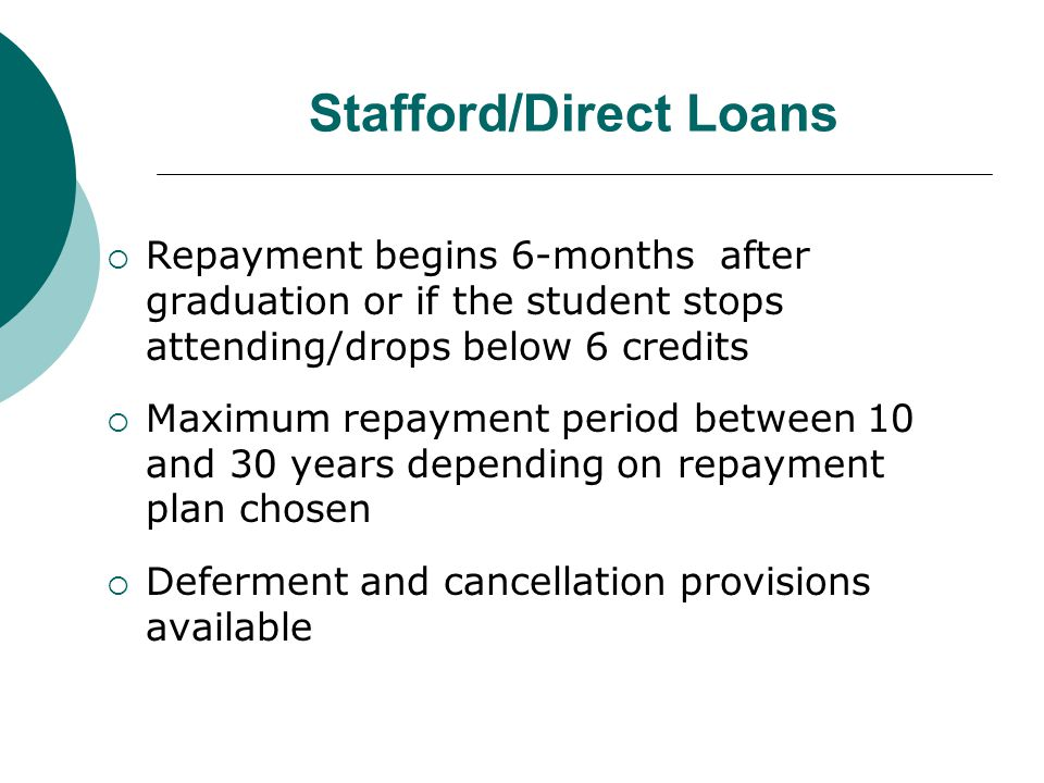 Stafford/Direct Loans  Repayment begins 6-months after graduation or if the student stops attending/drops below 6 credits  Maximum repayment period between 10 and 30 years depending on repayment plan chosen  Deferment and cancellation provisions available