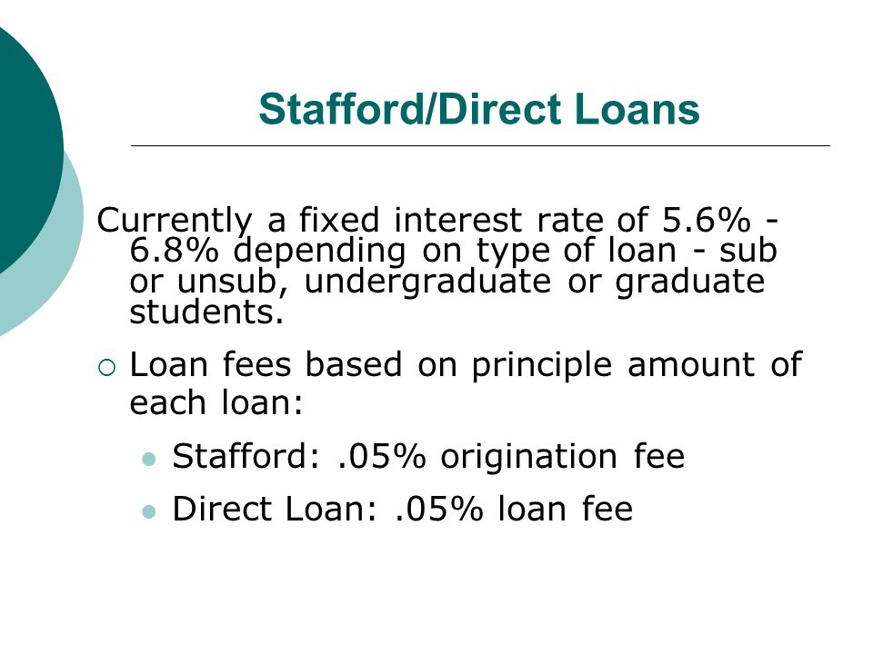 Stafford/Direct Loans Currently a fixed interest rate of 5.6% - 6.8% depending on type of loan - sub or unsub, undergraduate or graduate students.