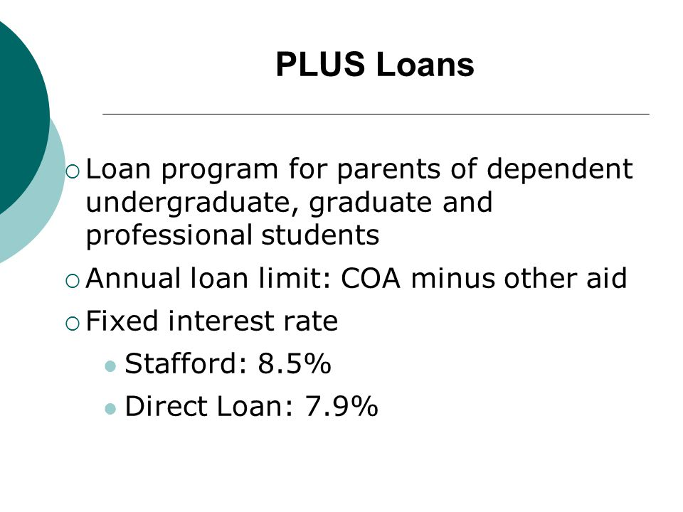 PLUS Loans  Loan program for parents of dependent undergraduate, graduate and professional students  Annual loan limit: COA minus other aid  Fixed interest rate Stafford: 8.5% Direct Loan: 7.9%