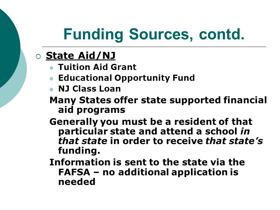 Funding Sources, contd.