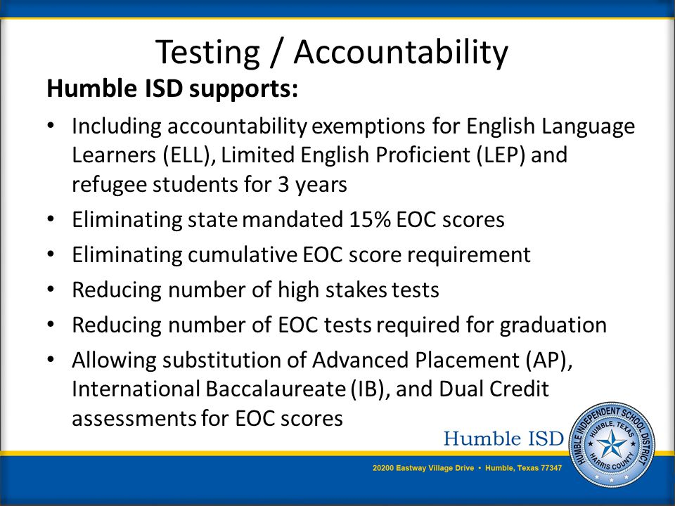 Graduation Requirements Humble ISD supports: A renewed focus on Career and Technical Education (CTE) allowing maximum flexibility for substitution of CTE courses for core graduation requirements