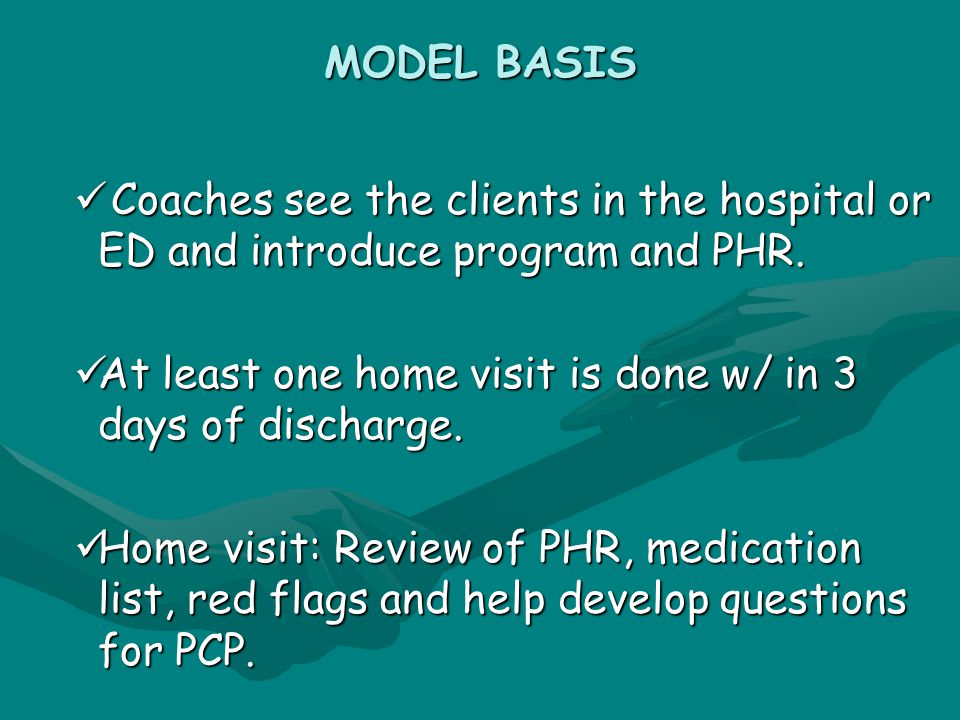 MODEL BASIS Coaches see the clients in the hospital or ED and introduce program and PHR.