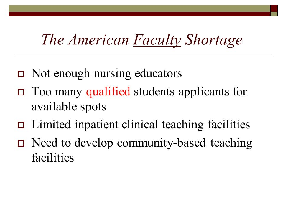 The American Faculty Shortage  Not enough nursing educators  Too many qualified students applicants for available spots  Limited inpatient clinical