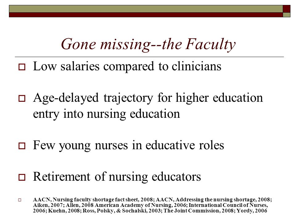 Gone missing--the Faculty  Low salaries compared to clinicians  Age-delayed trajectory for higher education entry into nursing education  Few young