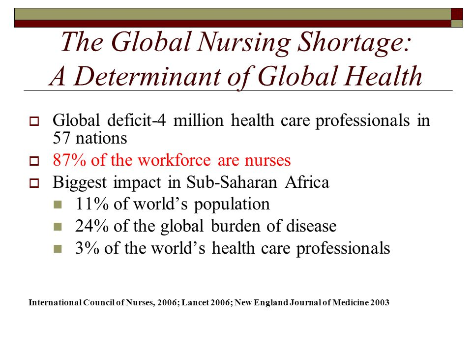 The Global Nursing Shortage: A Determinant of Global Health  Global deficit-4 million health care professionals in 57 nations  87% of the workforce