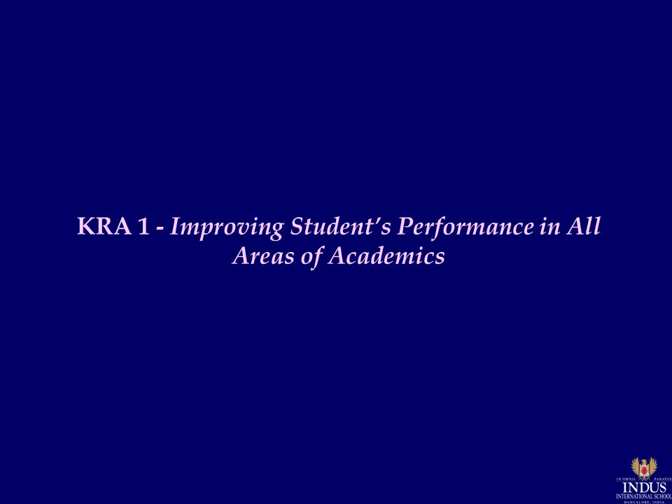 KRA 1 - Improving Student's Performance in All Areas of Academics