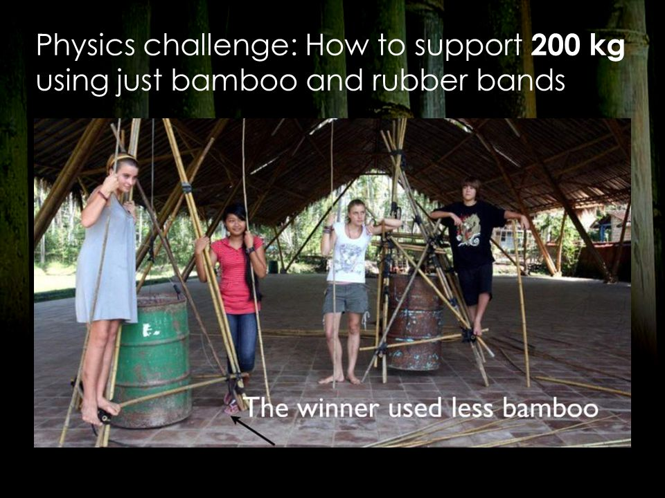 Physics challenge: How to support 200 kg using just bamboo and rubber bands