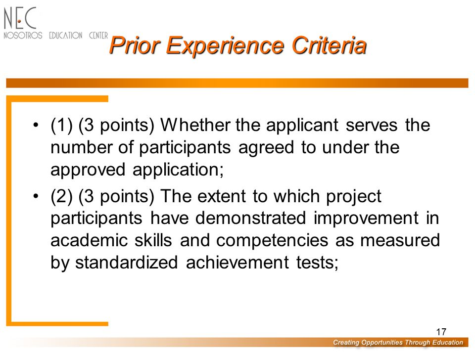 Prior Experience DOE Program Officer/Specialist awards PE points AFTER proposals are read & scored by readers Maximum Proposal Score: 100 proposal poi