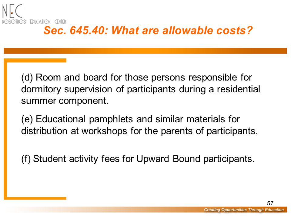 56 Sec.645.40: What are allowable costs. (a) In-service training of project staff.