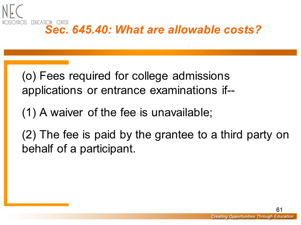 60 Sec.645.40: What are allowable costs.
