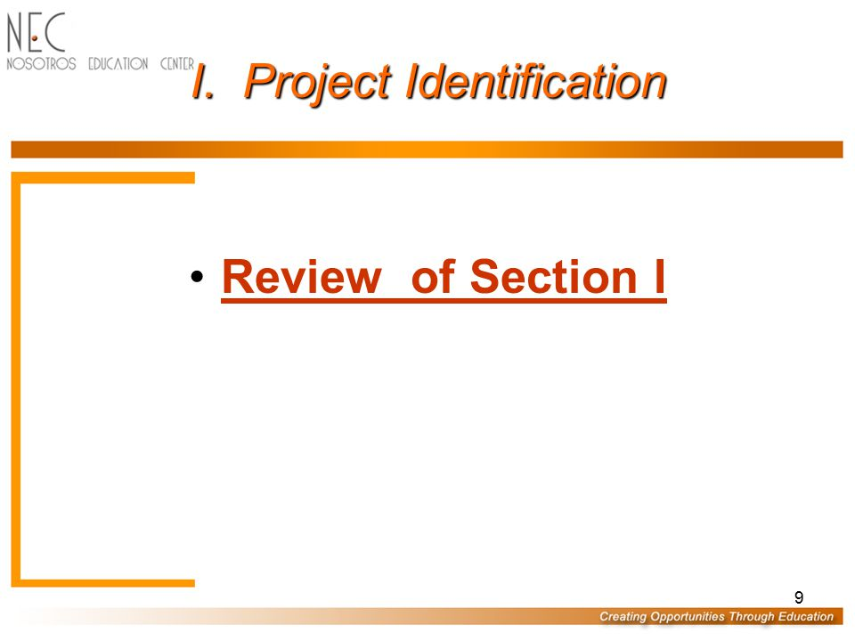 I. Project Identification Award number Project name and address Report period Project characteristics Data Entry Person Certification/Warning *Report
