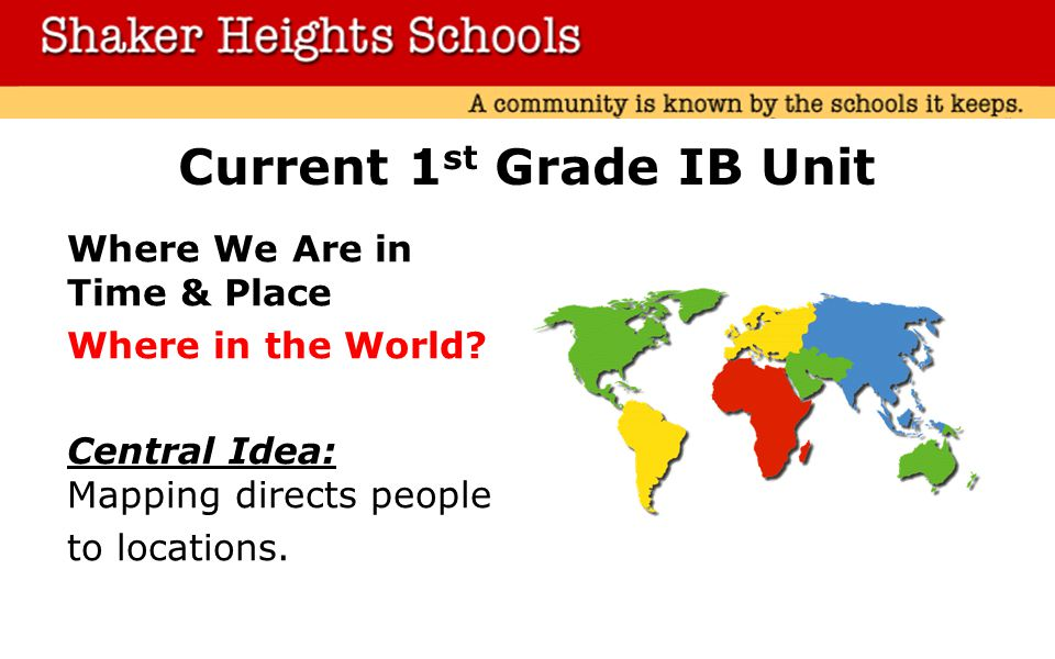 Current 1 st Grade IB Unit Where We Are in Time & Place Where in the World.