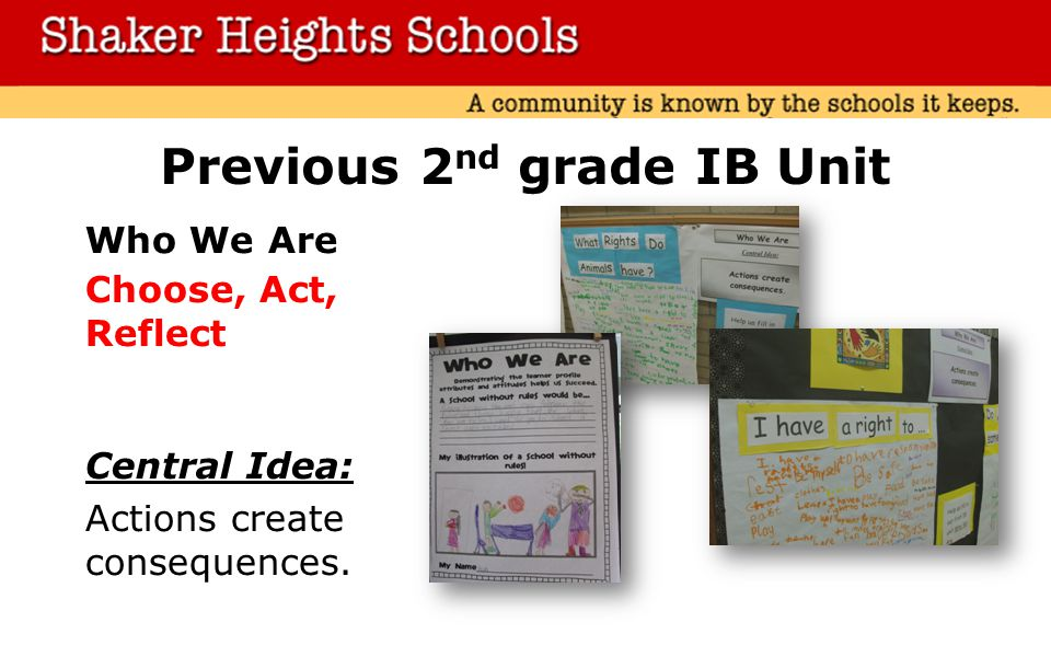 Previous 2 nd grade IB Unit Who We Are Choose, Act, Reflect Central Idea: Actions create consequences.