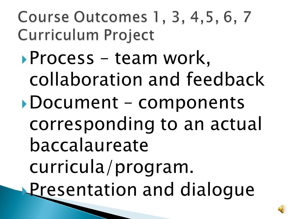 Develop a syllabus that could be used in a baccalaureate curriculum and that is congruent with your group's curriculum project.