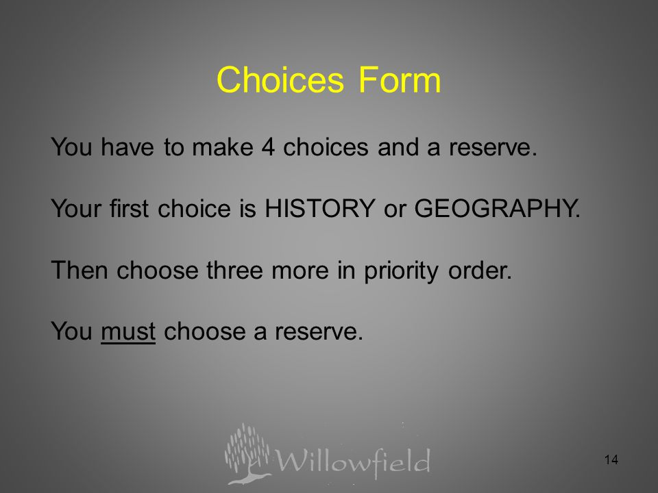 14 Choices Form You have to make 4 choices and a reserve.