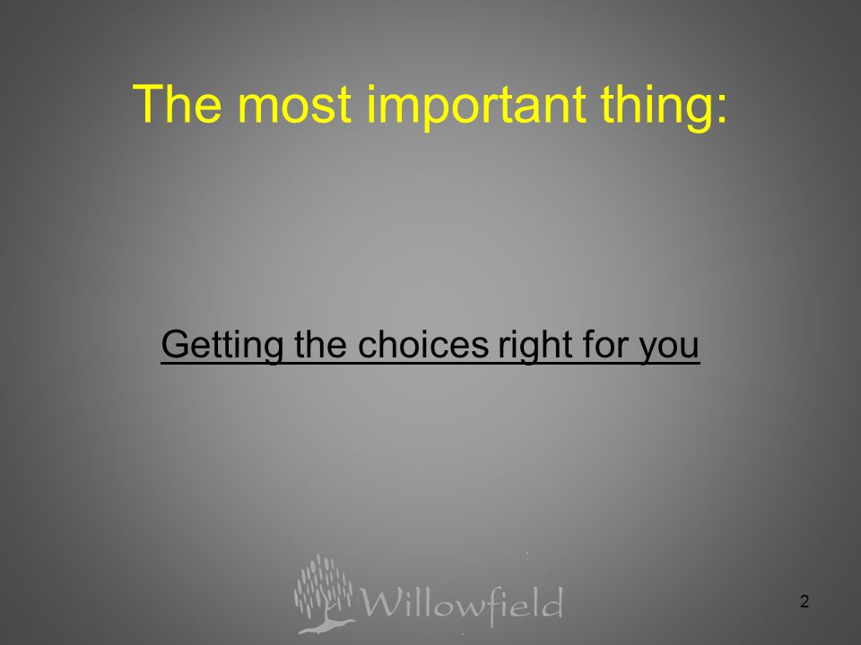 The most important thing: Getting the choices right for you 2