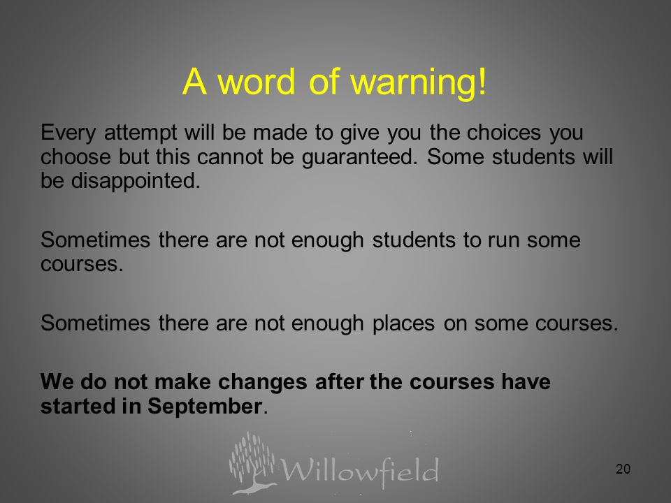 20 A word of warning.