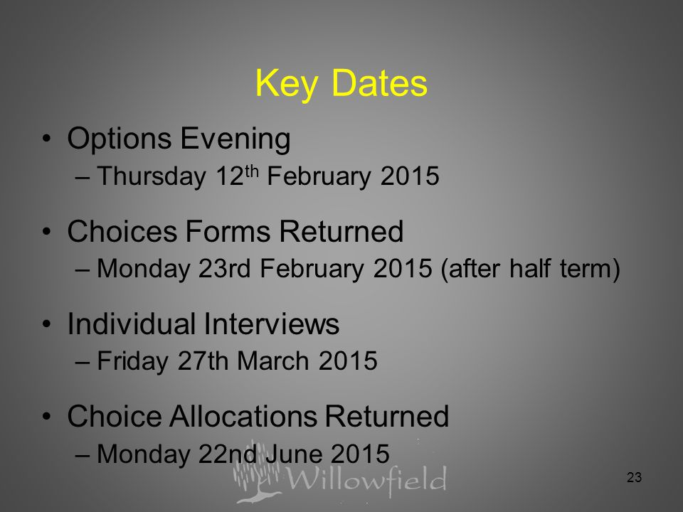 23 Key Dates Options Evening –Thursday 12 th February 2015 Choices Forms Returned –Monday 23rd February 2015 (after half term) Individual Interviews –Friday 27th March 2015 Choice Allocations Returned –Monday 22nd June 2015