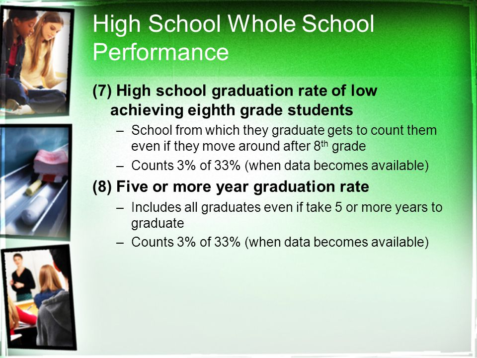 High School Whole School Performance (7) High school graduation rate of low achieving eighth grade students –School from which they graduate gets to count them even if they move around after 8 th grade –Counts 3% of 33% (when data becomes available) (8) Five or more year graduation rate –Includes all graduates even if take 5 or more years to graduate –Counts 3% of 33% (when data becomes available)