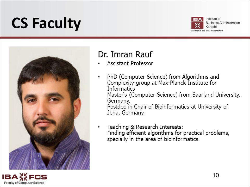 10 CS Faculty Dr.