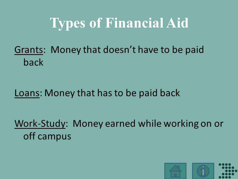 Types of Financial Aid GrantsGrants: Money that doesn't have to be paid back LoansLoans: Money that has to be paid back Work-StudyWork-Study: Money earned while working on or off campus
