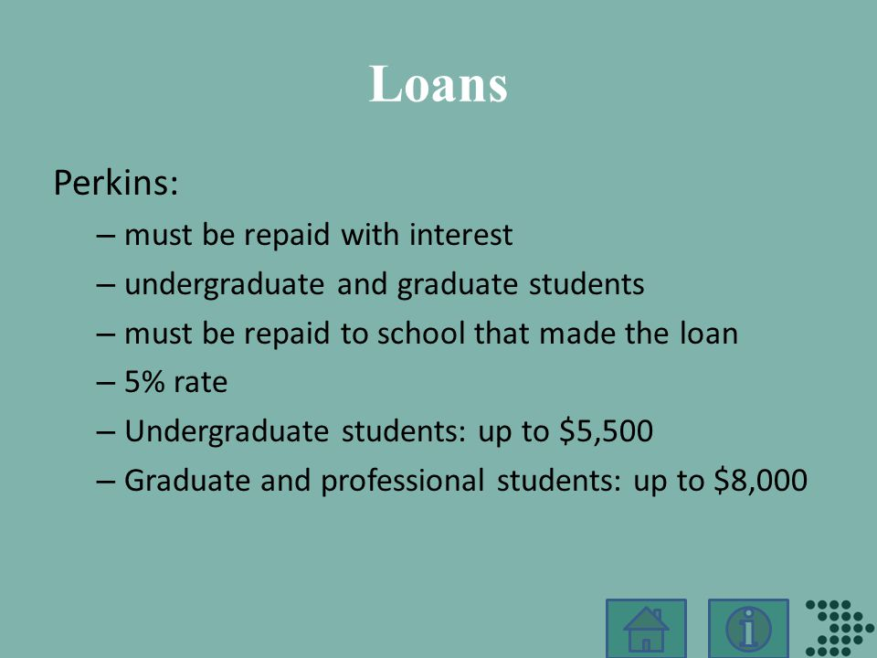 Loans Perkins: – must be repaid with interest – undergraduate and graduate students – must be repaid to school that made the loan – 5% rate – Undergraduate students: up to $5,500 – Graduate and professional students: up to $8,000