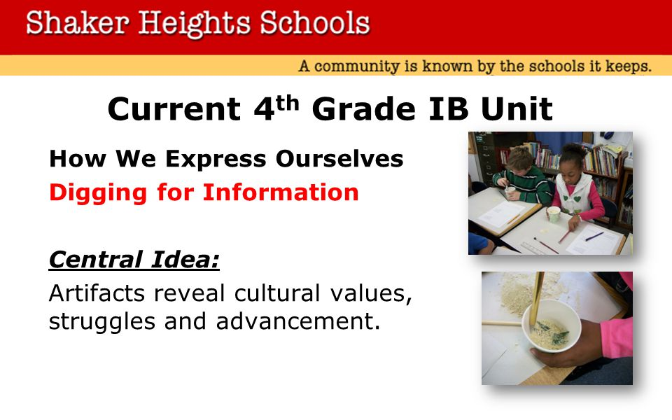 Current 4 th Grade IB Unit How We Express Ourselves Digging for Information Central Idea: Artifacts reveal cultural values, struggles and advancement.