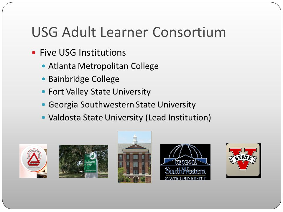 USG Adult Learner Consortium Five USG Institutions Atlanta Metropolitan College Bainbridge College Fort Valley State University Georgia Southwestern State University Valdosta State University (Lead Institution)