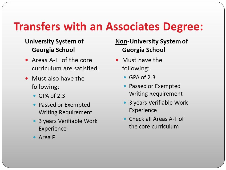 Transfers with an Associates Degree: University System of Georgia School Areas A-E of the core curriculum are satisfied. Must also have the following: