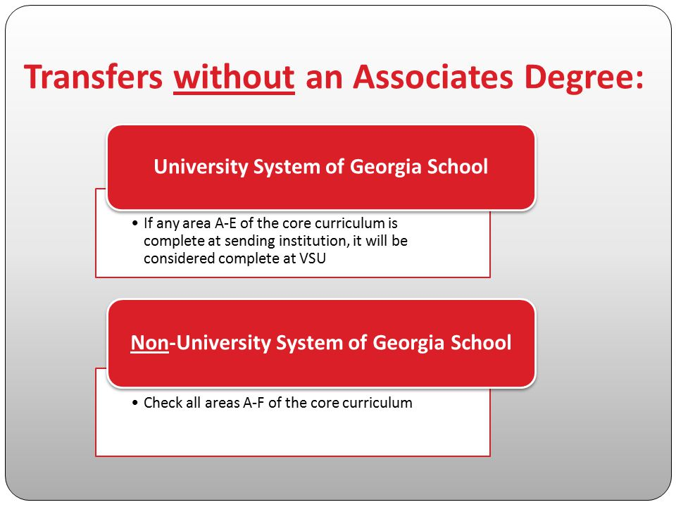 Transfers without an Associates Degree: If any area A-E of the core curriculum is complete at sending institution, it will be considered complete at V