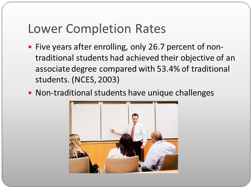 Lower Completion Rates Five years after enrolling, only 26.7 percent of non- traditional students had achieved their objective of an associate degree compared with 53.4% of traditional students.