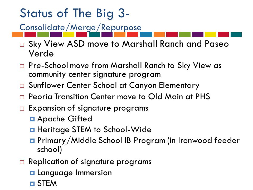 Status of The Big 3- Consolidate/Merge/Repurpose  Sky View ASD move to Marshall Ranch and Paseo Verde  Pre-School move from Marshall Ranch to Sky Vi