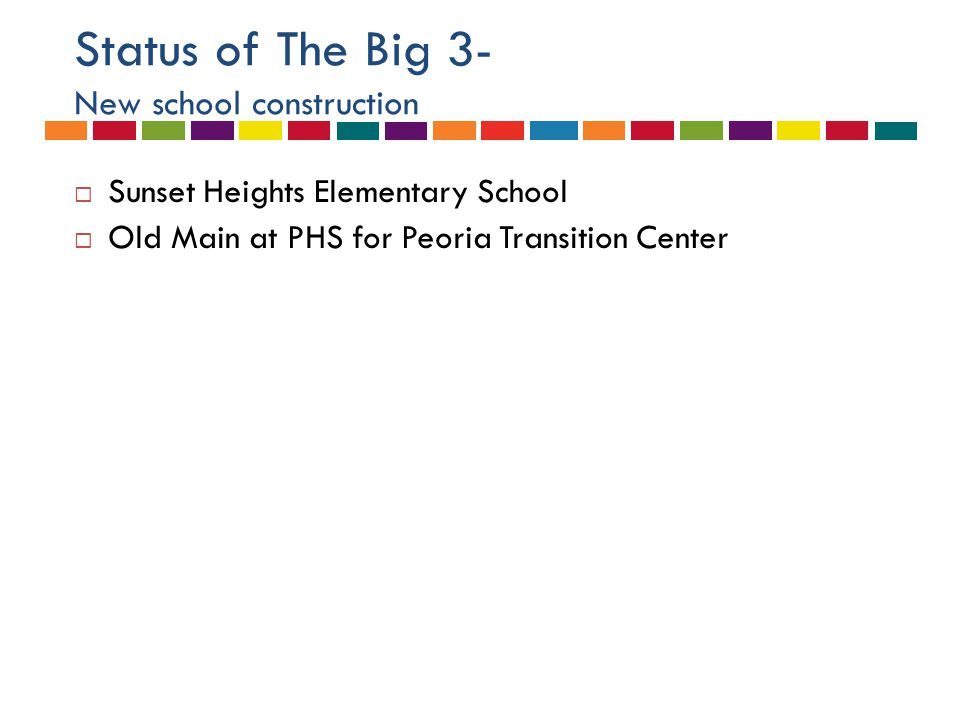 Status of The Big 3- New school construction  Sunset Heights Elementary School  Old Main at PHS for Peoria Transition Center