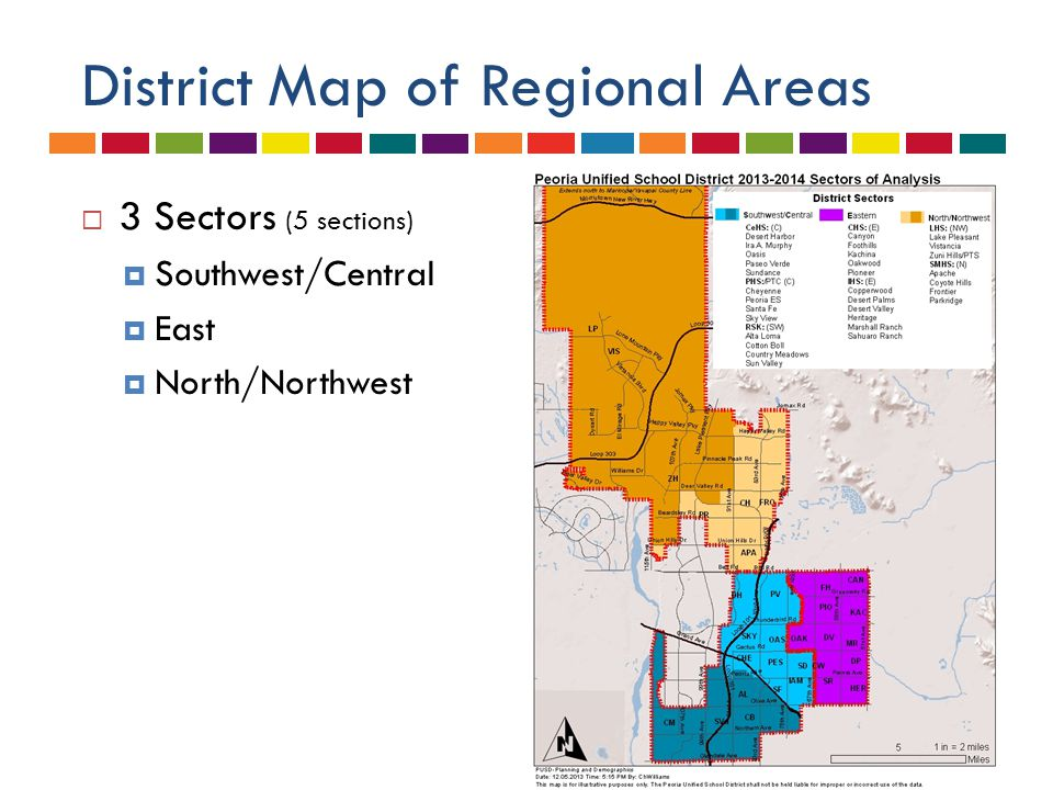 District Map of Regional Areas  3 Sectors (5 sections)  Southwest/Central  East  North/Northwest
