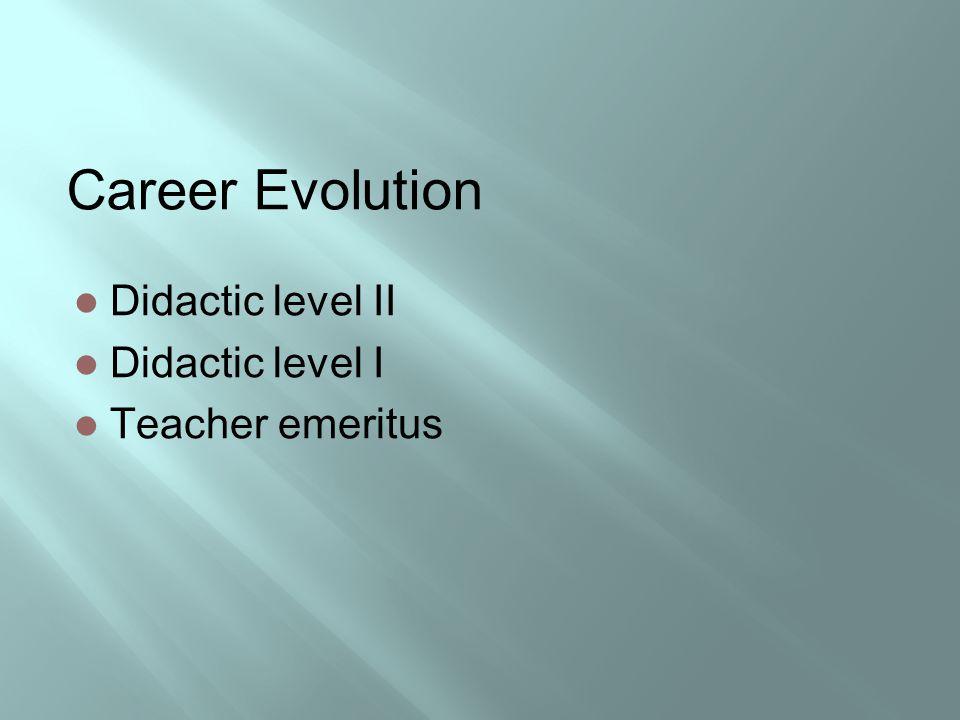 Career Evolution Didactic level II Didactic level I Teacher emeritus