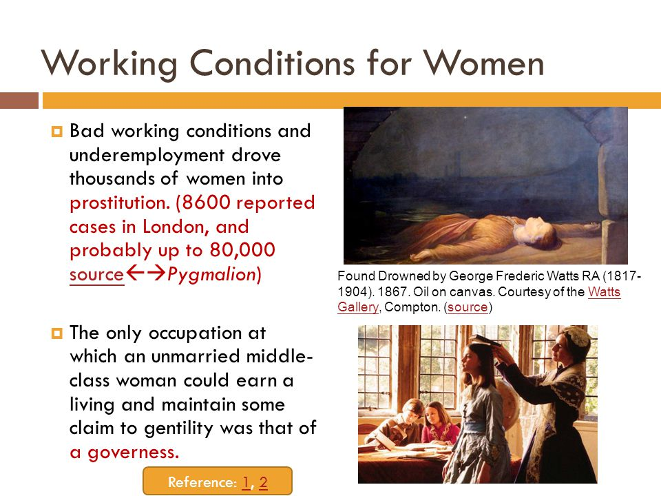 Working Conditions for Women  Bad working conditions and underemployment drove thousands of women into prostitution.