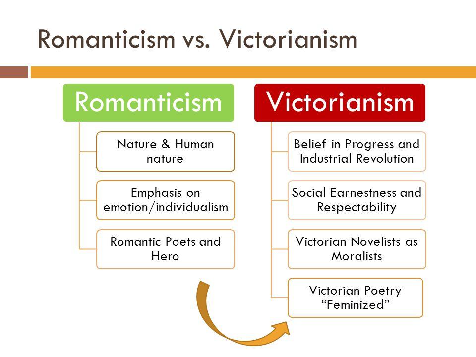 Romanticism vs. Victorianism Romanticism Nature & Human nature Emphasis on emotion/individualism Romantic Poets and Hero Victorianism Belief in Progre