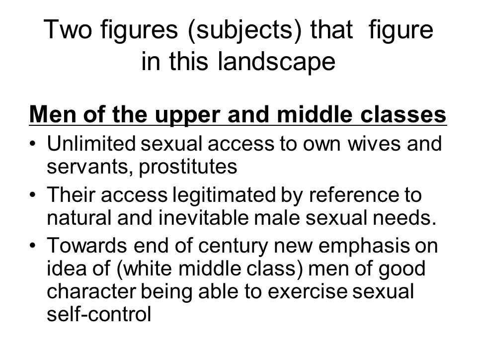 Two figures (subjects) that figure in this landscape Men of the upper and middle classes Unlimited sexual access to own wives and servants, prostitute