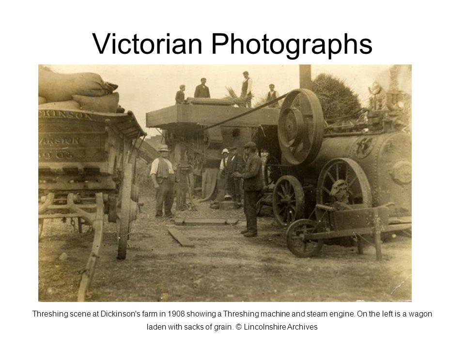 Victorian Photographs Threshing scene at Dickinson s farm in 1908 showing a Threshing machine and steam engine.