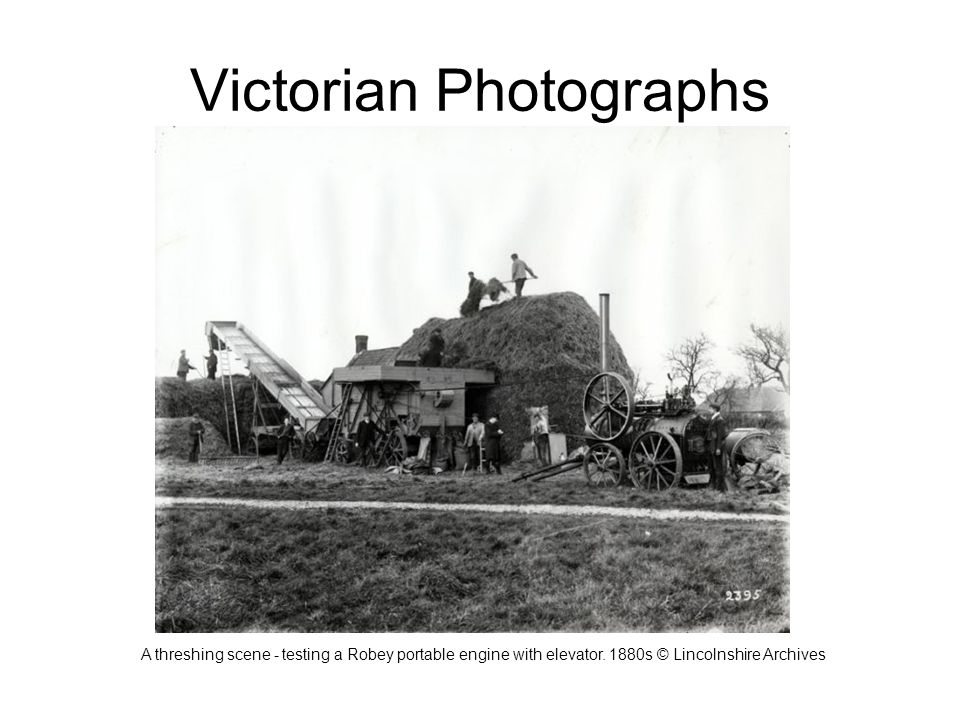Victorian Photographs A threshing scene - testing a Robey portable engine with elevator.