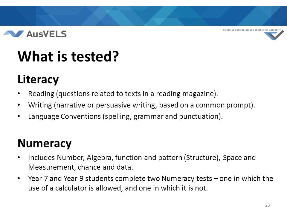 What is tested. Literacy Reading (questions related to texts in a reading magazine).
