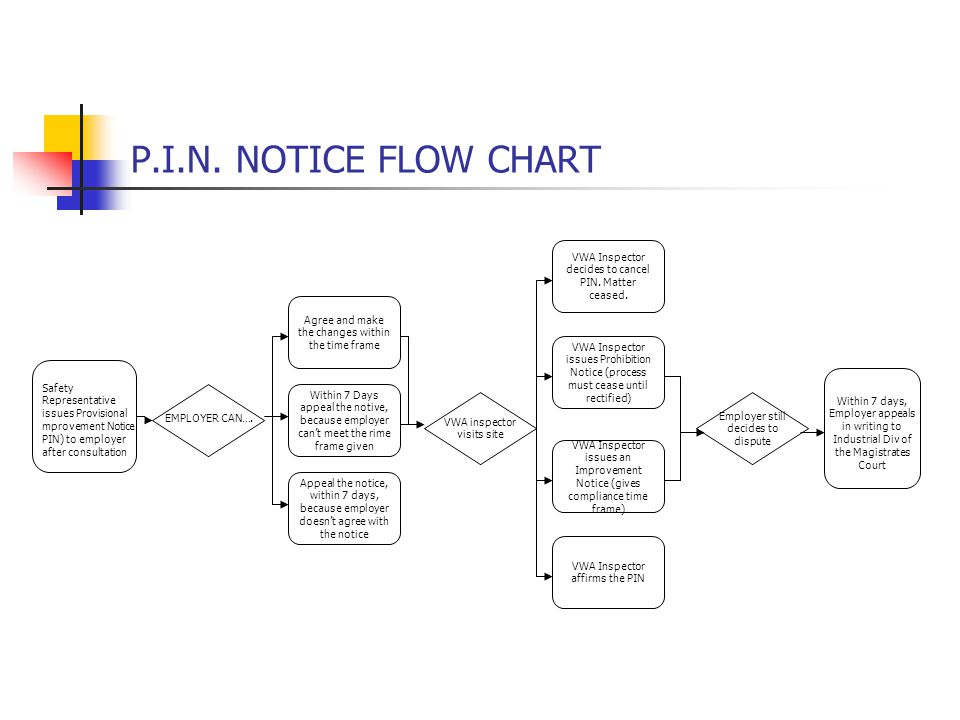 P.I.N. NOTICE FLOW CHART Safety Representative issues Provisional mprovement Notice PIN) to employer after consultation EMPLOYER CAN…. Agree and make