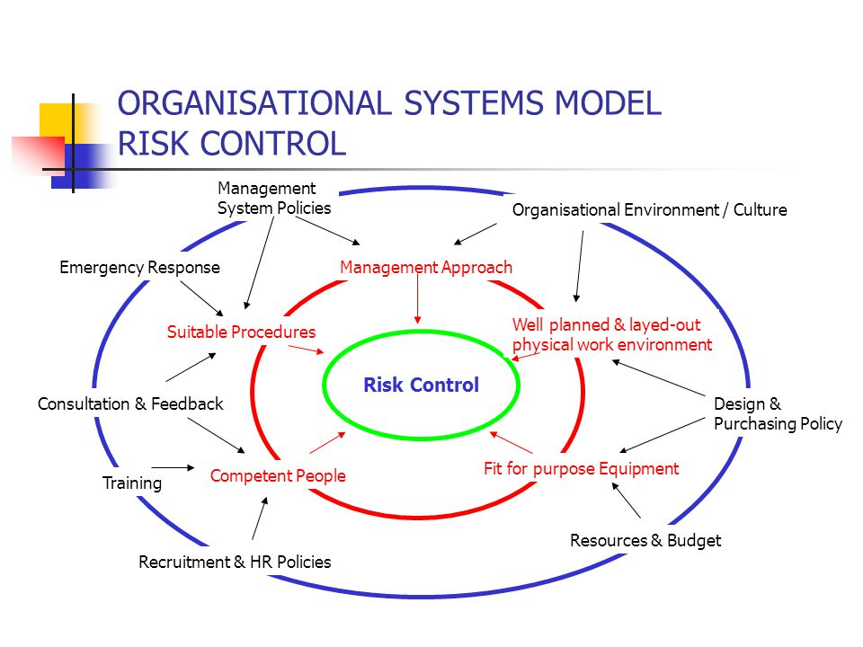 ORGANISATIONAL SYSTEMS MODEL RISK CONTROL Risk Control Resources & Budget Organisational Environment / Culture Emergency Response Training Recruitment