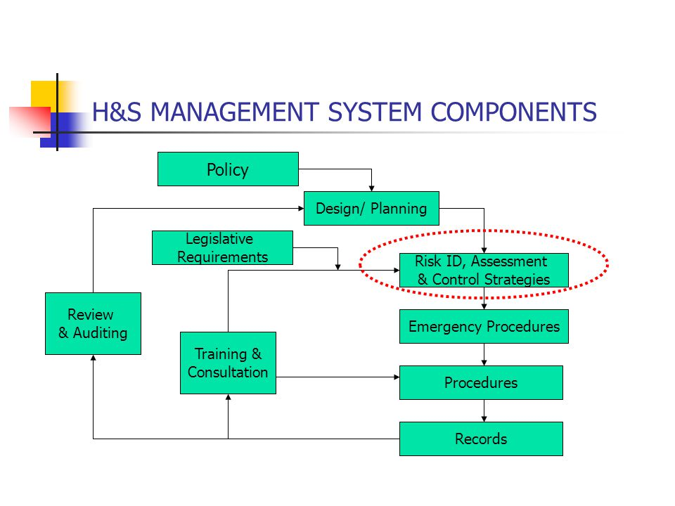 H&S MANAGEMENT SYSTEM COMPONENTS Policy Design/ Planning Risk ID, Assessment & Control Strategies Emergency Procedures Procedures Records Review & Aud