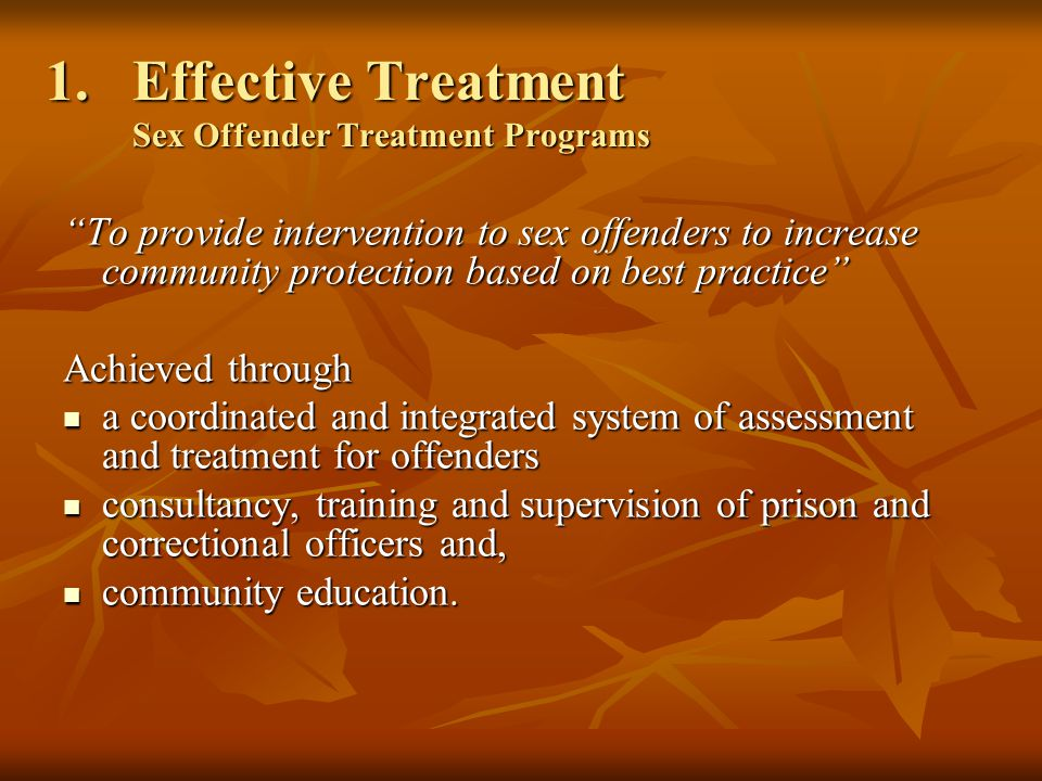 1.Effective Treatment Sex Offender Treatment Programs To provide intervention to sex offenders to increase community protection based on best practice Achieved through a coordinated and integrated system of assessment and treatment for offenders a coordinated and integrated system of assessment and treatment for offenders consultancy, training and supervision of prison and correctional officers and, consultancy, training and supervision of prison and correctional officers and, community education.