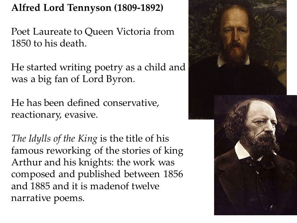 Alfred Lord Tennyson (1809-1892) Poet Laureate to Queen Victoria from 1850 to his death.