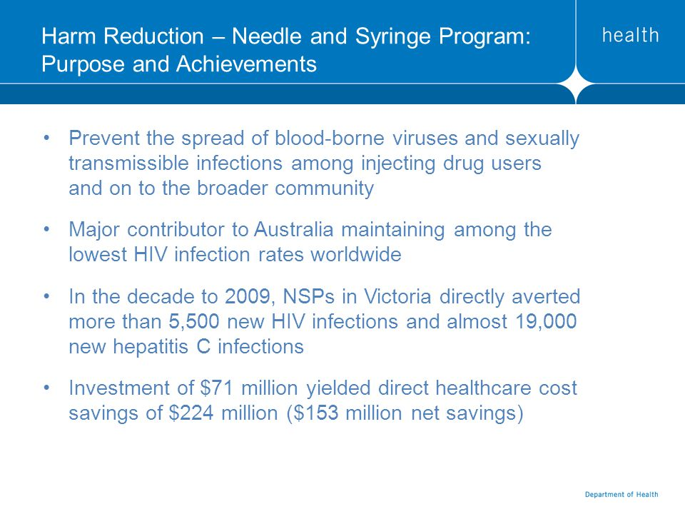 Harm Reduction – Needle and Syringe Program: Purpose and Achievements Prevent the spread of blood-borne viruses and sexually transmissible infections among injecting drug users and on to the broader community Major contributor to Australia maintaining among the lowest HIV infection rates worldwide In the decade to 2009, NSPs in Victoria directly averted more than 5,500 new HIV infections and almost 19,000 new hepatitis C infections Investment of $71 million yielded direct healthcare cost savings of $224 million ($153 million net savings)