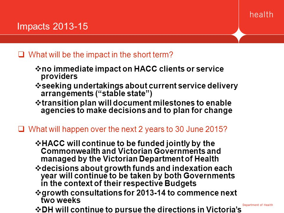 Impacts 2013-15  What will be the impact in the short term?  no immediate impact on HACC clients or service providers  seeking undertakings about c