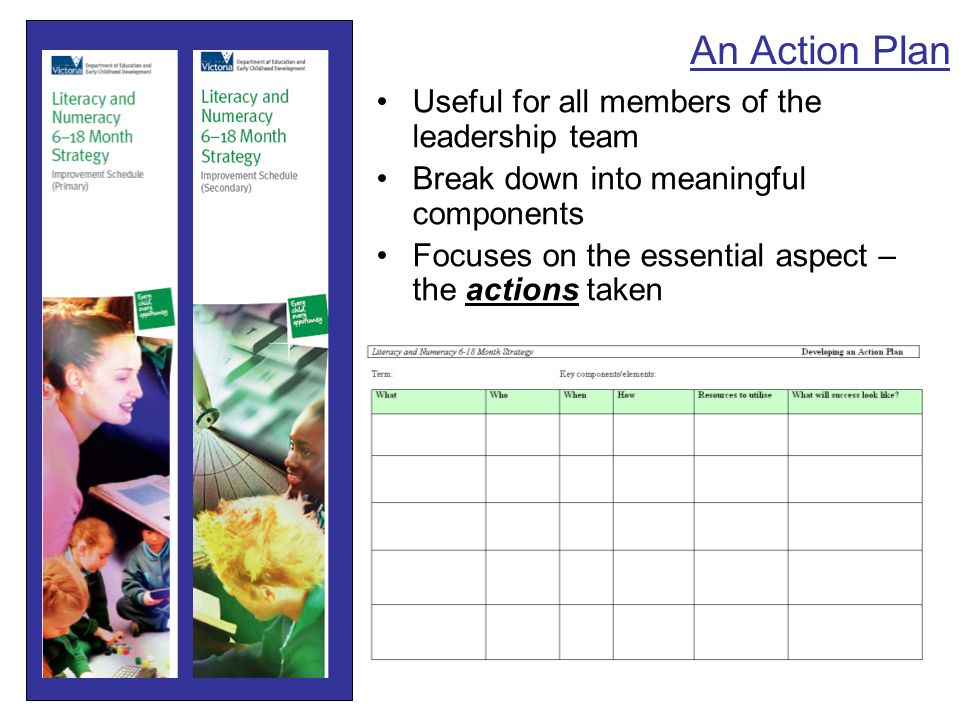 An Action Plan Useful for all members of the leadership team Break down into meaningful components Focuses on the essential aspect – the actions taken